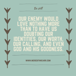 Our enemy would love nothing more than to have us doubting our identities, our worth, our calling, and even God and his goodness.